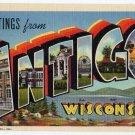 ANTIGO, Wisconsin large letter linen postcard Teich