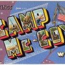 CAMP MC-COY, Wisconsin large letter linen postcard Teich