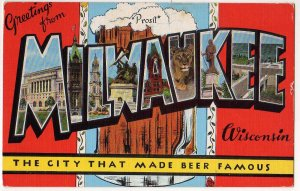 MILWAUKEE, Wisconsin large letter linen postcard Kropp