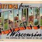 RHINELANDER, Wisconsin large letter linen postcard Teich