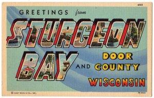 STURGEON BAY, Wisconsin large letter linen postcard Teich