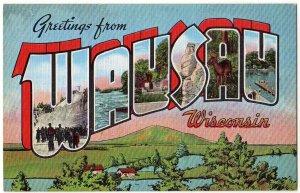 WAUSAU, Wisconsin large letter linen postcard Kropp