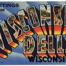 WISCONSIN DELLS large letter linen postcard Teich