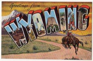 WYOMING large letter linen postcard Kropp