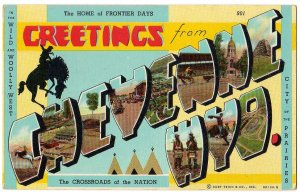 CHEYENNE, Wyoming large letter linen postcard Teich