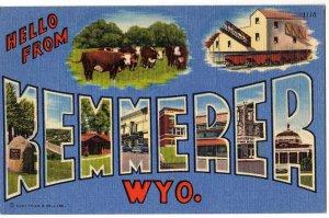 KEMMERER, Wyoming large letter linen postcard Teich