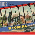 SHERIDAN, Wyoming large letter linen postcard Teich