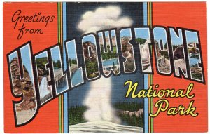 YELLOWSTONE NATIONAL PARK large letter linen postcard Kropp