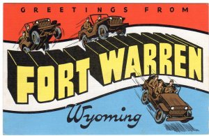 FORT WARREN, Wyoming large letter linen postcard Kropp
