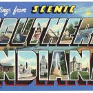 SOUTHERN INDIANA large letter linen postcard Teich