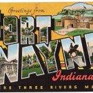 FORT WAYNE, Indiana large letter linen postcard Kropp