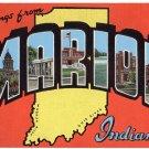MARION, Indiana large letter linen postcard Kropp
