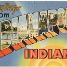 INDIANAPOLIS, Indiana large letter linen postcard Tichnor