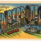INDIANAPOLIS, Indiana large letter linen postcard Metropolitan