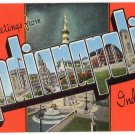 INDIANAPOLIS, Indiana large letter linen postcard Kropp