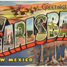 CARLSBAD, New Mexico large letter linen postcard Teich