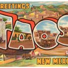 TAOS, New Mexico large letter linen postcard Teich