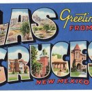 LAS CRUCES, New Mexico large letter linen postcard Teich