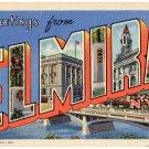 ELMIRA, New York large letter linen postcard Teich