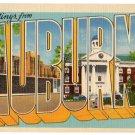AUBURN, New York large letter linen postcard Eastern Photo
