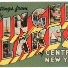 FINGER LAKES, New York large letter linen postcard Teich