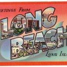 LONG BEACH, New York large letter linen postcard Colourpicture