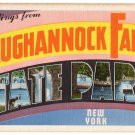 TAUGHANNOCK FALLS STATE PARK, New York large letter linen postcard Eastern Photo