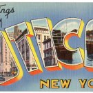 UTICA, New York large letter linen postcard Tichnor