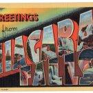 NIAGARA FALLS, New York large letter linen postcard Teich