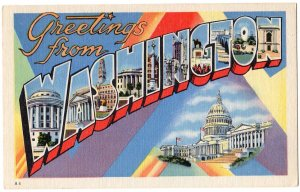 WASHINGTON large letter linen postcard Beals
