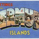 BERMUDA ISLANDS large letter linen postcard Teich