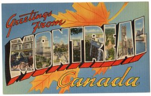 MONTREAL, Canada large letter linen postcard Tichnor