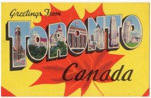 TORONTO, Canada large letter linen postcard Colourpicture
