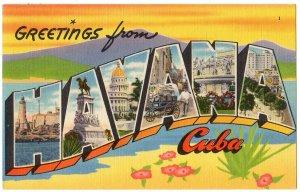 HAVANA, Cuba large letter linen postcard Tichnor
