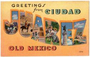 CIUDAD JUAREZ, Mexico large letter linen postcard Colourpicture