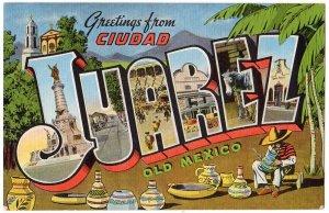 CIUDAD JUAREZ, Mexico large letter linen postcard Kropp