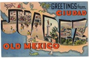 CIUDAD JUAREZ, Mexico large letter linen postcard Tichnor