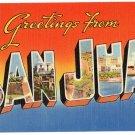 SAN JUAN, Puerto Rico large letter linen postcard Tichnor
