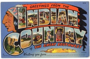 INDIAN COUNTRY large letter linen postcard Teich