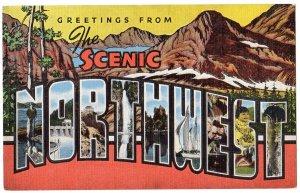 SCENIC NORTHWEST large letter linen postcard Kropp