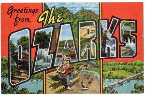 OZARKS large letter linen postcard Kropp