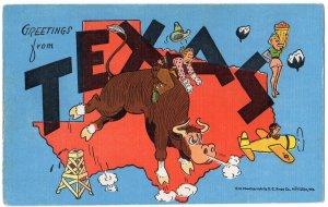 TEXAS large letter linen postcard Kropp