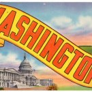 WASHINGTON large letter linen postcard Colourpicture