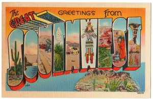Great SOUTHWEST large letter linen postcard