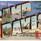 CAMP DAVIS, North Carolina large letter linen postcard Teich
