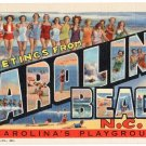 CAROLINA BEACH, North Carolina large letter linen postcard Teich
