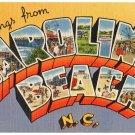 CAROLINA BEACH, North Carolina large letter linen postcard Tichnor