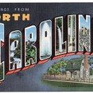 NORTH CAROLINA large letter linen postcard Kropp
