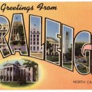 RALEIGH, North Carolina large letter linen postcard MWM