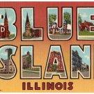 BLUE ISLAND, Illinois large letter linen postcard Teich